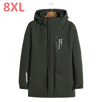 2018 NEW Winter new parkas for jacket Hooded brand casual men warm plus size 8XL 7XL Cotton-padded clothes Coat Free shipping