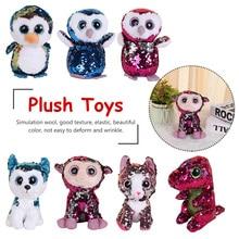 Cat Owl Fox Bunny  Best Christmas Gift 15cm Ty Beanie Boos Sequin Animal Plush Toys Doll snow bunny s christmas gift