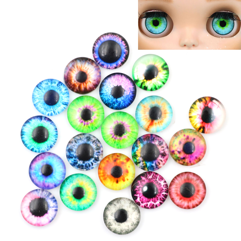 20PCs 10/16/20mm Colorful DIY Craft Glass Dolls Eyes For Toy Dinosaur Animal Eye Time Gem Accessories No Self-adhesive
