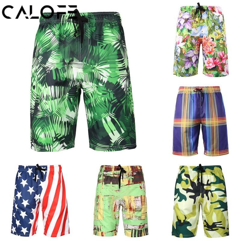 2018 Men's Printed Beach   Board     Shorts   Quick Dry Swim   Shorts   High Waist Sport Loose Beach Swim Bottoms Bermuda Surfing Trunks