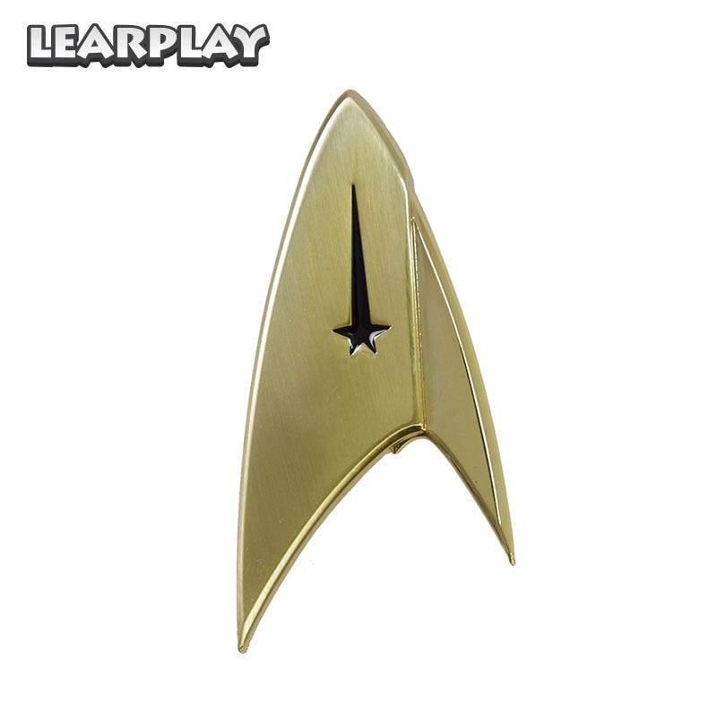 Star Trek Discovery Cosplay Commander Badge Starfleet Costume Brooches Halloween Uniform Pin Accessories Golden Props Gift