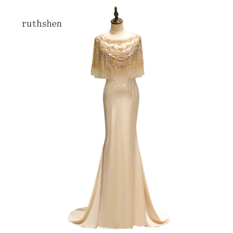 ruthshen 2018 New Tassel Soft Satin Mermaid Style Formal   Evening   Gowns Robes De Soiree   Evening     Dresses   Special Occasion   Dresses
