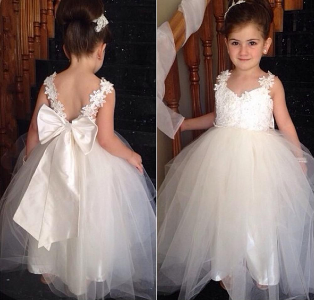 2019 Cute White Ivory   Flower     Girl     Dresses   Top with Appliques New Designed Lace Strap Custom Made Pageant   Dresses   for   Girls   Glitz