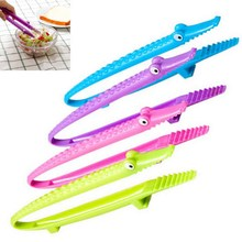 1 PC Hot Selling Silicone Cooking Kitchen Tongs Food BBQ Salad Steak Bread Clip Clamp VBS17 P35
