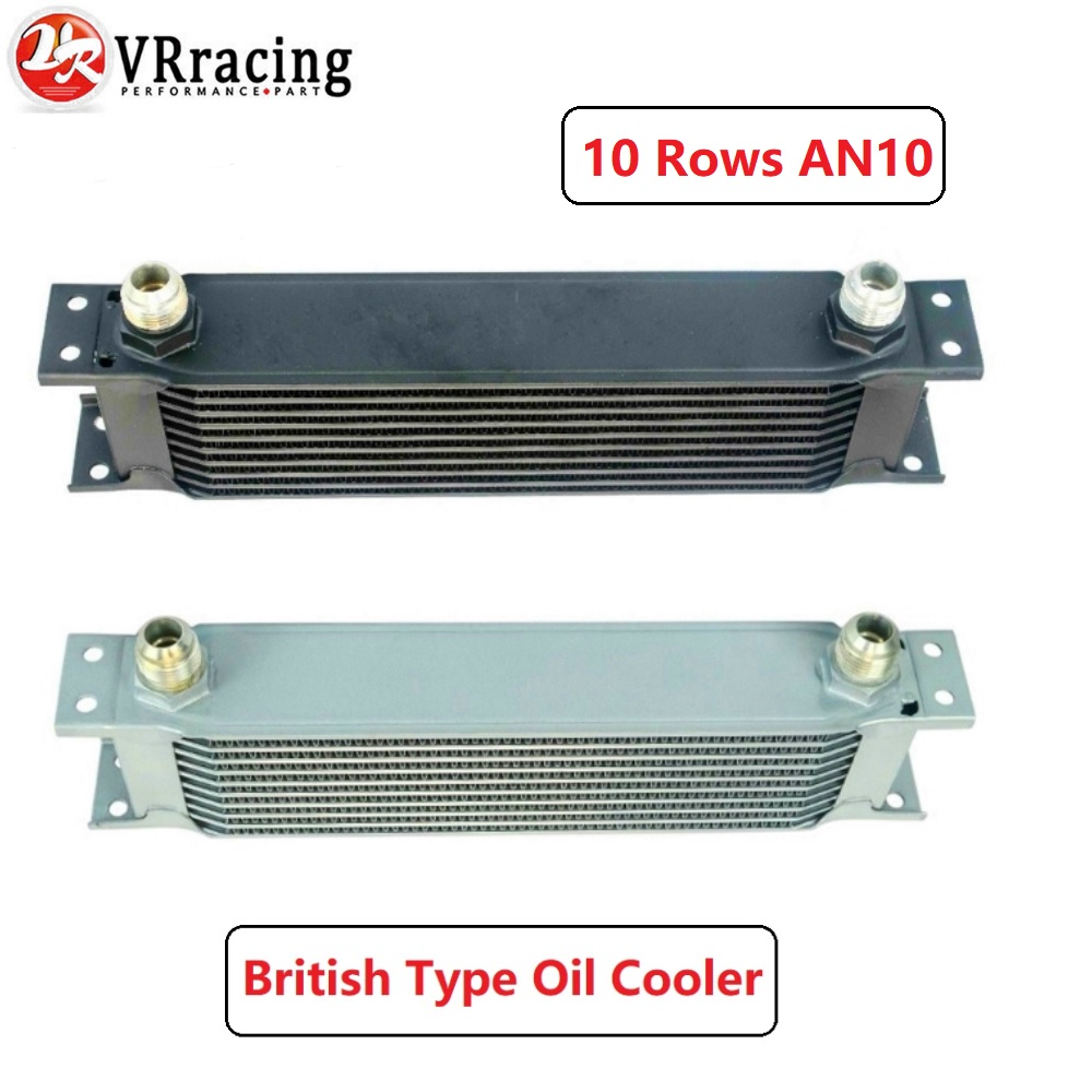 VR RACING - Aluminum Universal Engine transmission AN10 Oil Cooler 10rows SILVER/BLACK VR7010VR RACING - Aluminum Universal Engine transmission AN10 Oil Cooler 10rows SILVER/BLACK VR7010