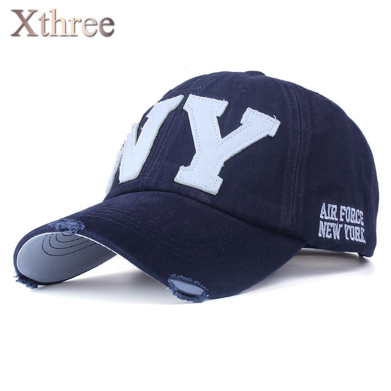 [Xthree] unisex mode baumwollbaseballmütze snapback hut für männer frauen sonnenhut knochen gorras ny stickerei frühjahr kappe großhandel