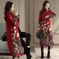 Winter Chinese Traditional Style Female Red Tang Suits Tops Manual Button Embroidery Mandarin Collar Long Jacket