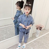 Girls Clothes Sets Spring Autumn Kids Trendy Denim Coat+Jeans Pants Suit For Girl 4 6 8 10 12 14 Years Wear Brand Design DWQ095