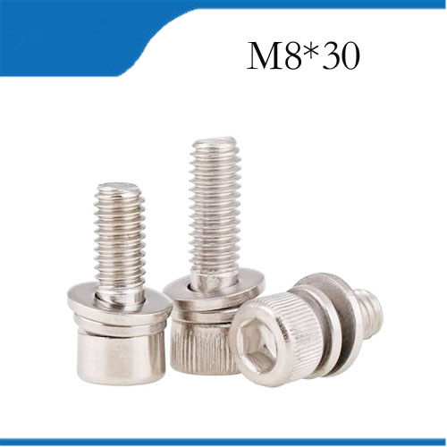 3pcs M8*30mm Stainless Steel Knurled Thumb Head Hex Bolt Hexagon Socket Lock Washer Sems Assembly combination m8 bolts,m8 nails