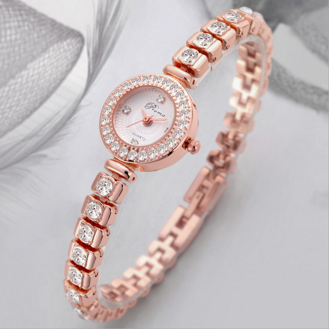 PREMA Ladies Bracelet Watch Women Luxury Fashion Rhinestone Quartz Watches Small Dial Stainless Steel Wristwatch Relogio 2020