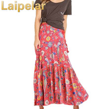 Hippie Long Skirt 2018 New Summer Boho Chic Beach Floral Print Elastic Waist Casual Holiday Mori Girl  Women Skirts Wear