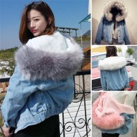 Newly Women Winter Warm Denim Jacket Faux Fur Collar Casual Denim Trucker Jacket Coat Windbreaker Female Large