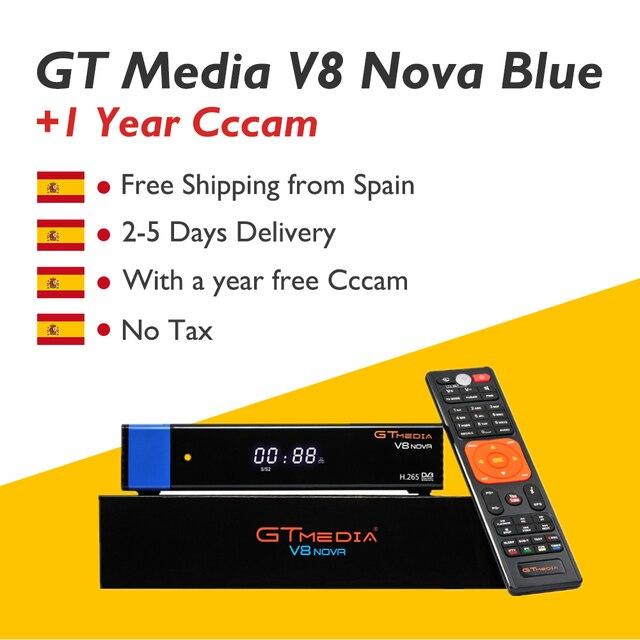 GTmedia V8 Nova Blue Satellite Receiver TV Box with 1 Year CCcam Spain Europe 1080P DVB-S2 RCA Port Satellite Decoder Receptor