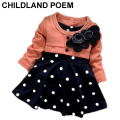 New fashion 100% Cotton Baby Girl Christmas Dresses Kids Children's Lovely Princess Two Tones Splicing Polka Dots Dress