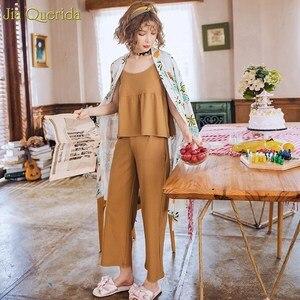 Image 4 - Ropa Para el hogar pijamas de algodón estilo japonés mujer Pijama estampado Kawaii Conjunto de pijama 3 piezas estampado Floral bata + pantalón de pierna ancha Pjs