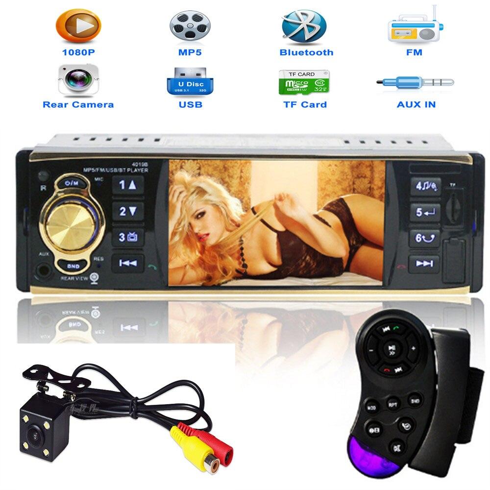 Offre spéciale autoradio lecteur stéréo Bluetooth téléphone AUX MP3 FM/USB/1 Din/télécommande 12 V voiture Audio voiture électronique avec caméra
