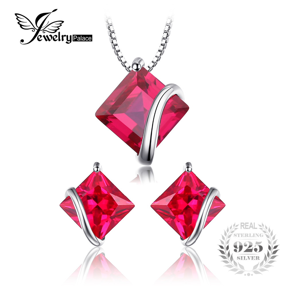JewelryPalace Classic Square 6.1ct Created Ruby Stud Earrings Pendants & Necklaces 925 Sterling Silver Fine Jewelry For Women