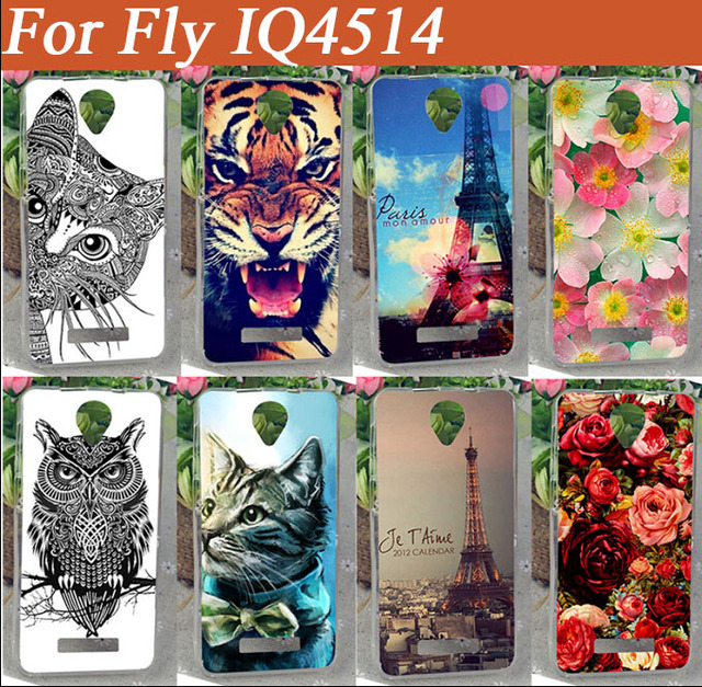 Hot Fashion Painting Case For FLY IQ4514 EVO Tech 4  painted case Cat Lion Rose Flower Soft TOU Case For Fly iq4514