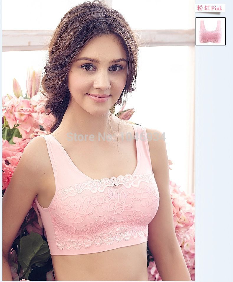 Free Shipping Cotton And Lace Sexy Bra Young Girl Underwear Sports Bra Black White Pink Khaki Purple Solid Color In Bras From Underwear Sleepwears On