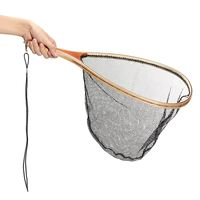 Wooden Handle Nylon 60x28x37cm Fly Fishing Trout Landing Small Mesh Fishing Net Catch Release Frame Sea