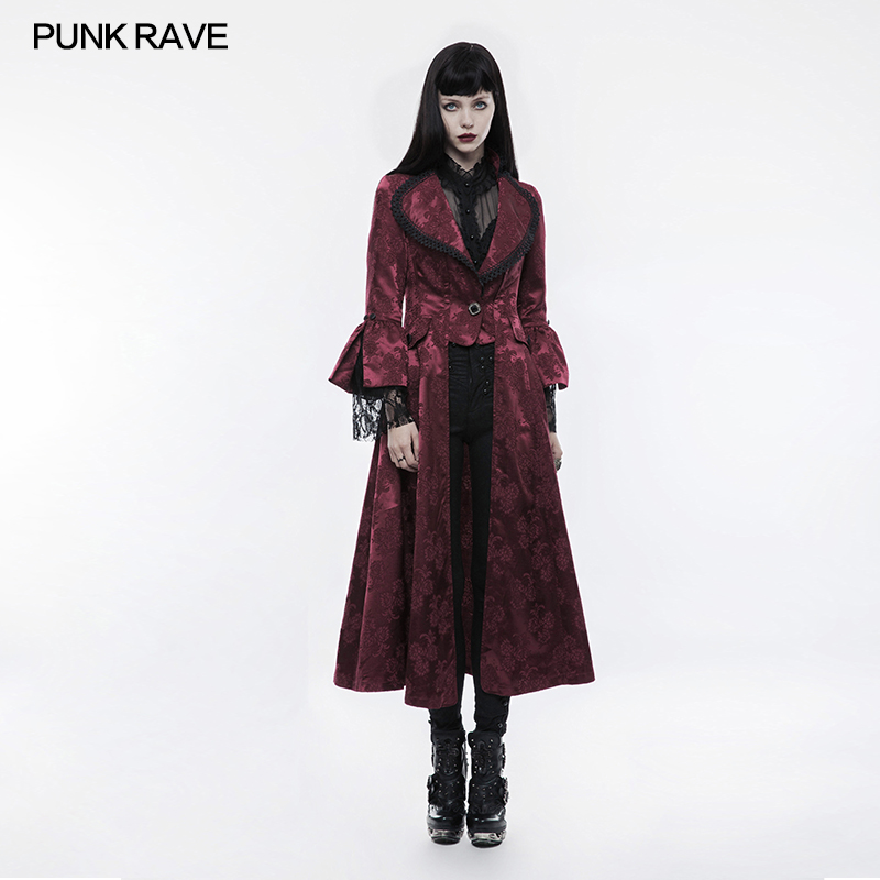 Punk Rave Gothic Victorian Satin Coat Jacket Flower Pattern Gorgeous Fashion With Pockets WY844