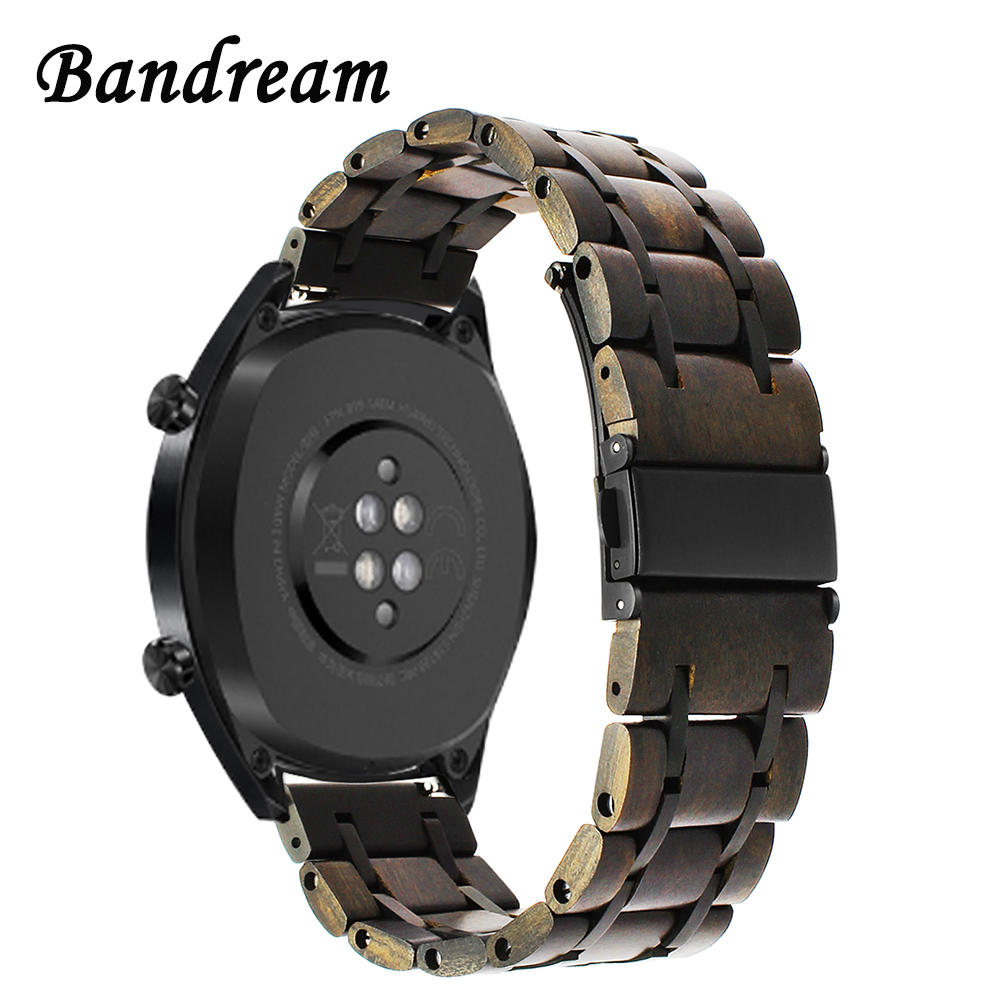 Nature Wood & Stainless Steel Watchband for Huawei Watch GT Quick Release Band Replacement Strap Wrist Bracelet Wristband +Tools
