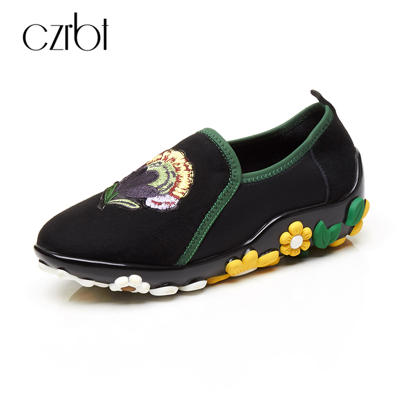 CZRBT Fashion Women shoes Handmade Genuine Leather Loafers Spring Autumn Flat Heel Casual Shoes Woman Black Round Toe Flats genuine cow leather spring shoes wedges soft outsole womens casual platform shoes high heel round toe handmade shoes for women