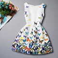 Hot Sale New 2017 Baby Kids Girls Summer Dress Princess Butterfly Print Dress 5 To 12 Years Kids Sundress for Girls Clothing