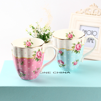 Couple Ceramic Mug 2pcs England British Flower Patten Tea Cups Creative Trend Bone China Coffee Cup Set As A Gift for Friends