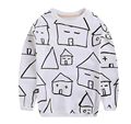 2016 hot kids T-shirts Fashion unisex baby house printed cotton T shirt Long sleeve Tees 1-4 years boys casual blouse baby girl