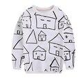 2016 горячие детские Футболки Мода мужская детские дома ситец T рубашка С Длинным рукавом Майки 1-4 лет мальчики повседневная блузка девочка