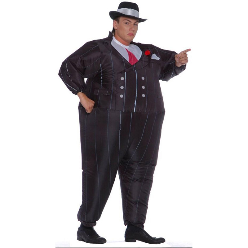 2016 New gangster inflatable costume halloween costume for men inflatable suit black suits inflatable Gangster carnival costume