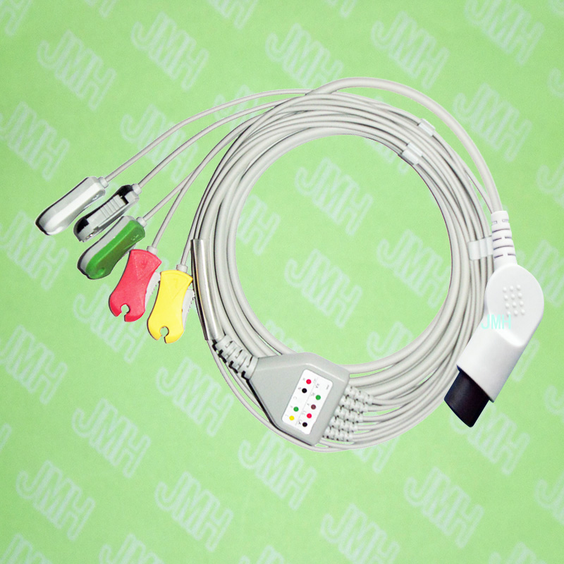 Compatible BCI,CSI,GE,Nellcor,Nihon Kohden and HP ECG Machine the one-piece 5 lead cable and clip leadwire,IEC or AHA,bent 6pin.