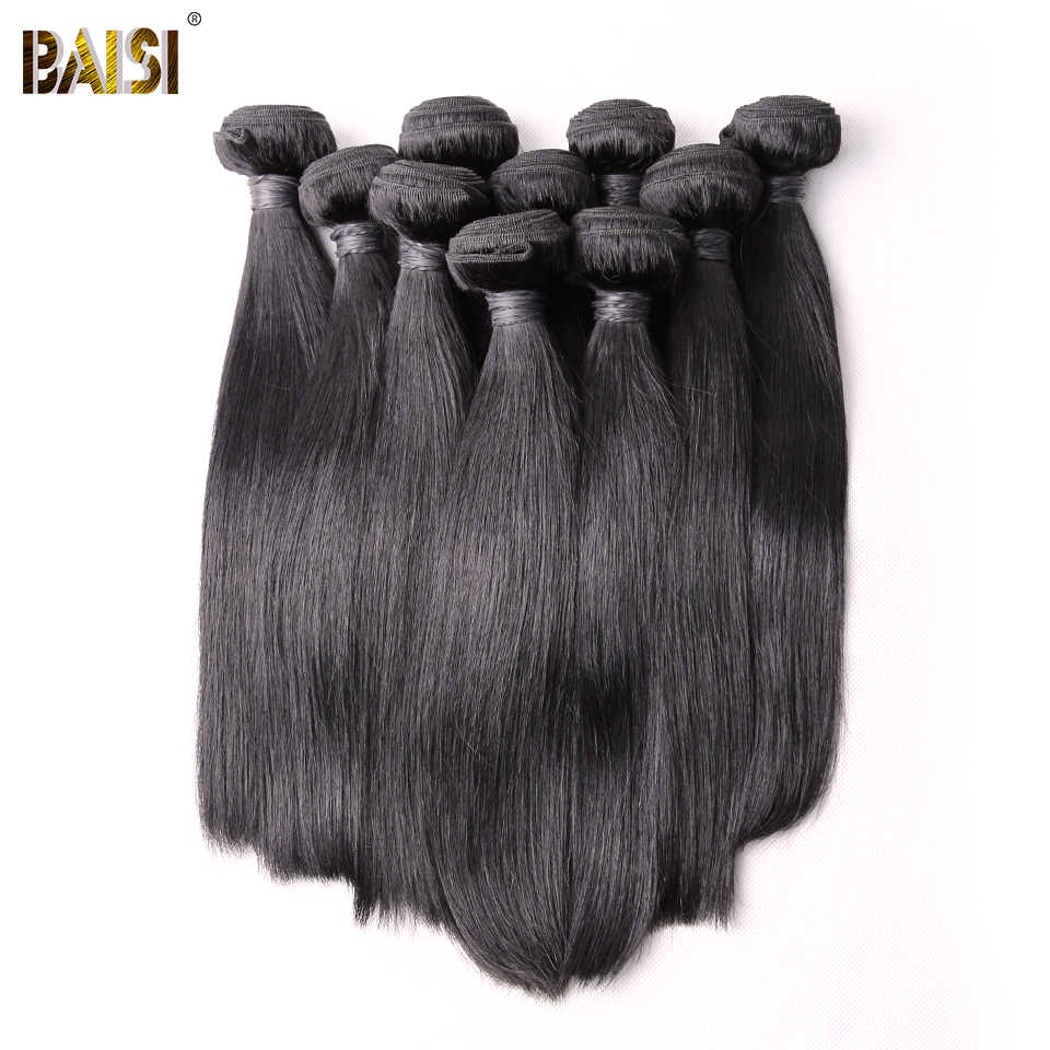 BAISI Hair Brazilian Straight Remy Hair Bundles 100% Human Hair Extensions 10 Bundles Wholesale Deal