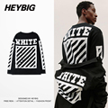 OFF WHITE men HEYBIG tee Long-sleeve F/W Skateboard Tops 2016 new American Hip hop T-shirts Diagonals Printed clothing CN SIZE