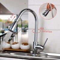 De Stock Contemporary Chrome Finish Solid Brass Spring Kitchen Faucet Two Spouts Swivel Deck Mount Mixer