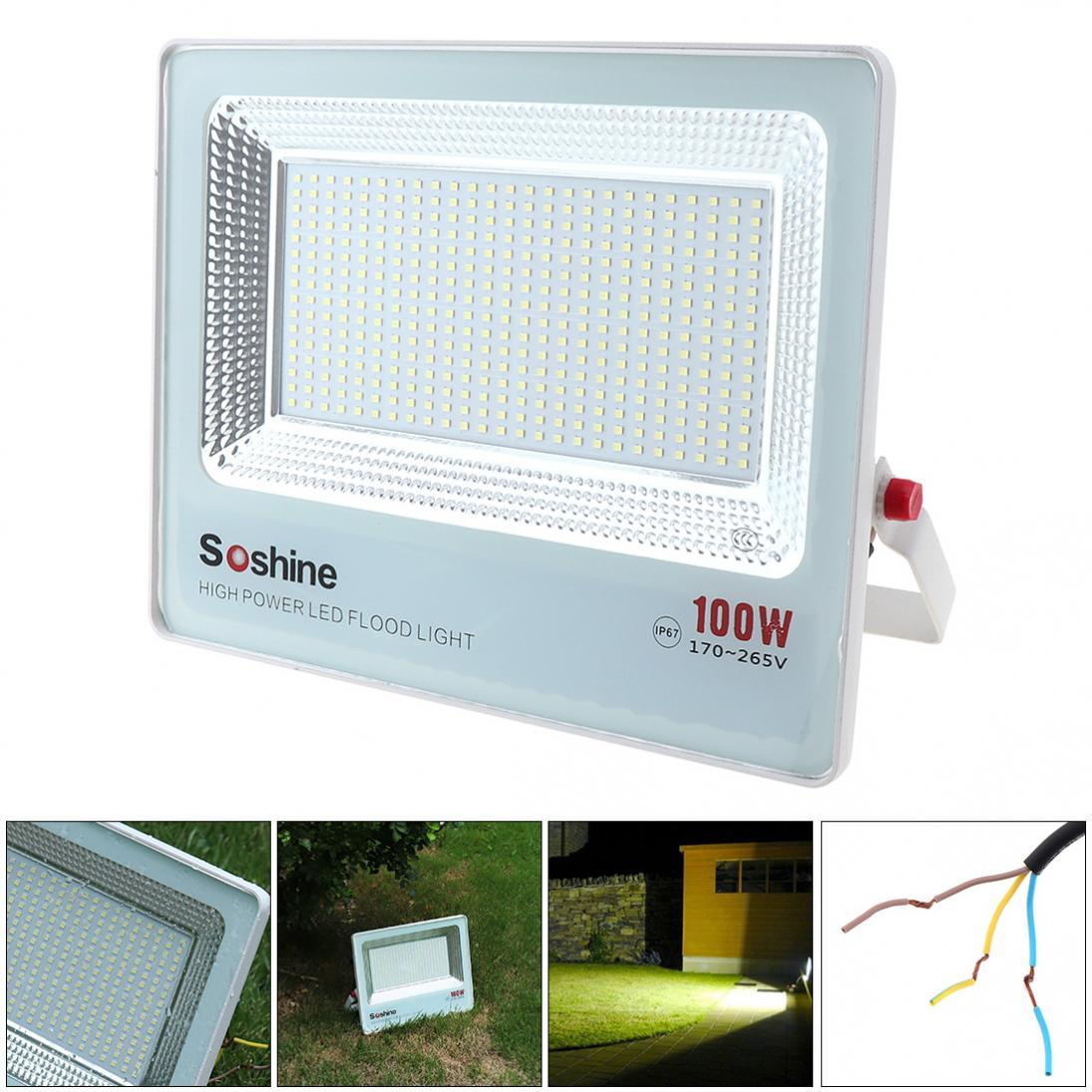 10000 LM AC180-265V Waterproof Outdoor 100W 400 PCT2835 LED Floodlight with 120 Degree Angle for Projectors Landscape Garden