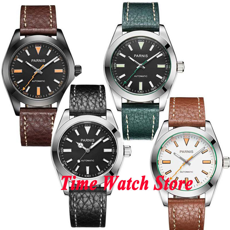 Parnis 40mm black dial luminous hands and marks sapphire glass 21 jewels MIYOTA Automatic mens watch 517 relogio masculinoParnis 40mm black dial luminous hands and marks sapphire glass 21 jewels MIYOTA Automatic mens watch 517 relogio masculino