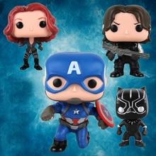 10 см Мстители Железный человек фигурку Игрушки Marvel Капитан Америка 3 Черная Вдова гражданской войны пантера Зимний Солдат