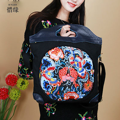 XIYUAN BRAND simple Ethnic Genuine Leather Embroidery bag Vintage national embroidered big shoulder Messenger bag hand bags xiyuan brand ladies beautiful and high grade imports pu leather national floral embroidery shoulder crossbody bags for women