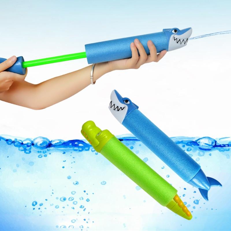 33cm Summer Water Gun Toys Pistol Blaster Shooter Outdoor Swimming Pools Cartoon Shark Crocodile Squirter Toys For Children