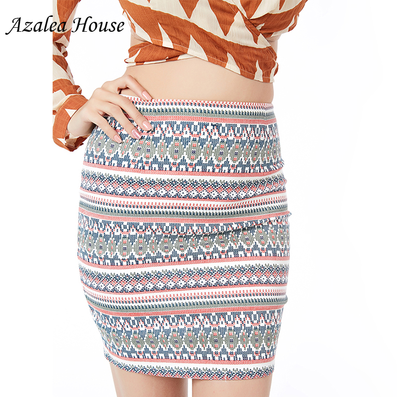 2018 Azalea House women Cotton Summer sexy Skirts Fashion Geometric short womens Pencil mini Zipper Skirt