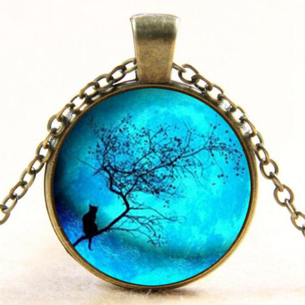 Blue Moon and Cat Glass Dome Pendant Necklace Cat Jewelry Necklace For Fashion Womens Gi ...