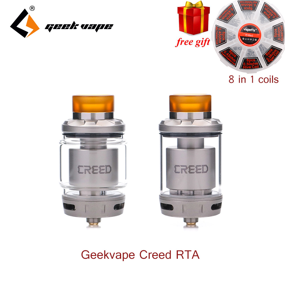 2018 Best Sapore RTA Geekvape Creed RTA con 3 intercambiabili flusso d'aria 6.5 ml capacità di supporto singolo e doppia bobina vs zeus RTA