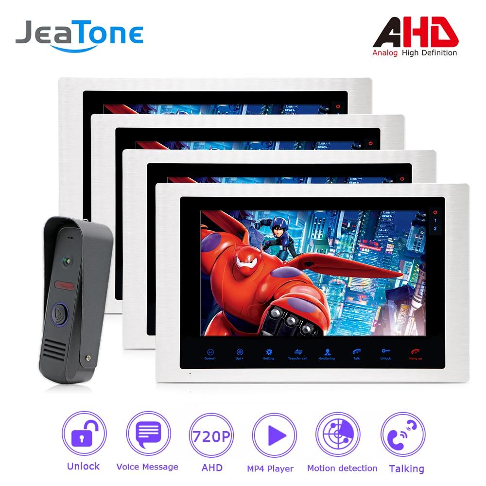 1080P AHD 10'' Video Door Phone Intercom Door Bell Waterproof Support Voice Message/Motion Detection/MP4 Player 1 To 4 Monitors
