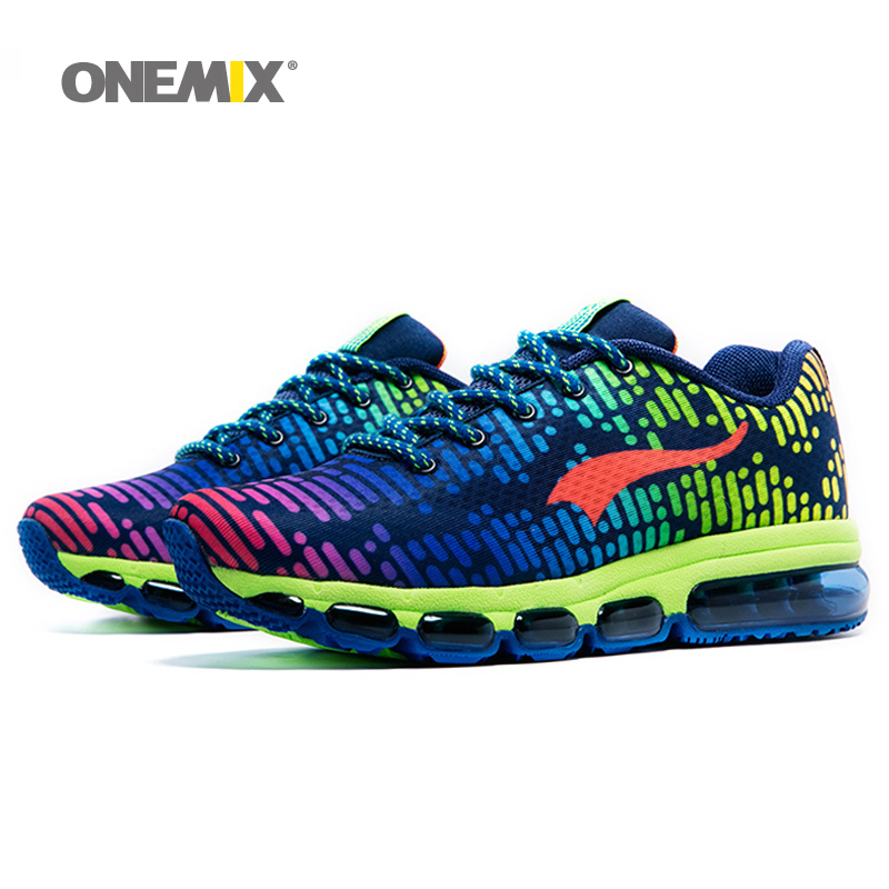 ONEMIX New  Air Cushion Running Shoes For Men  Music Rhythm 2 Sneakers Breathable Mesh Outdoor Athletic Shoe Free run Men peak sport men outdoor bas basketball shoes medium cut breathable comfortable revolve tech sneakers athletic training boots