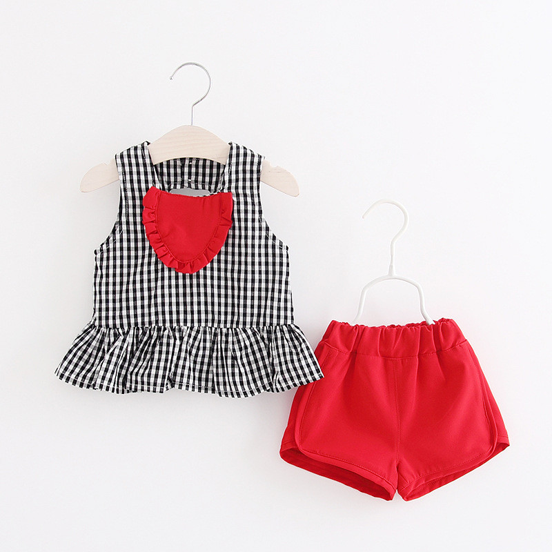 2018 Fashion Infant Baby Summer Girls Clothes 2pcs Set Baby Love Vest Clothes + Short Pants roupa de bebe bebek giyim Dropship