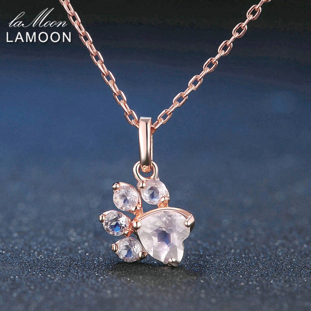 LAMOON Bear's Paw 5x5.5mm 100% Natural Gemstone Rose Quartz Chain Necklace 925 Sterling Silver Jewelry Rose Gold Plated LMNI027