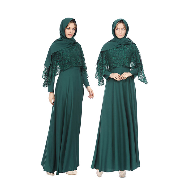 Muslim fashion dress Women lace  Robes long skirt with headscarf Long sleeve Ladies Arabic Abayas