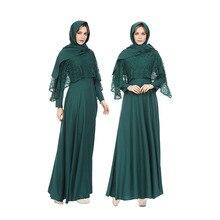 Muslim fashion dress Women lace  Robes long skirt with headscarf Long sleeve Ladies Arabic Abayas